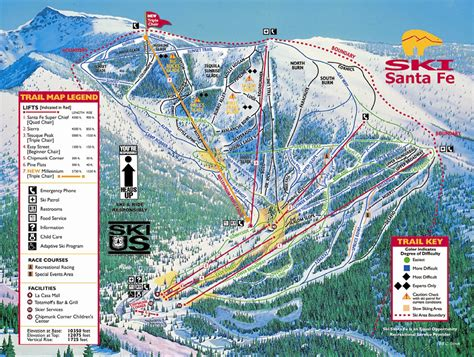 santa fe map ski santa fe ski trail map santa fe new mexico mappery