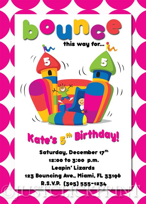 bounce house birthday invitations template best template