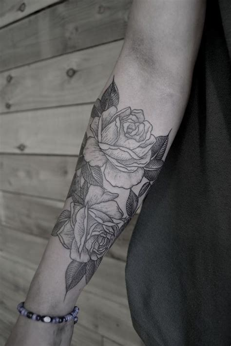 black and white roses tattoos simple black and white on arm tattoomagz
