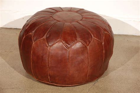 leather poufs ottomans moroccan large leather pouf at 1stdibs