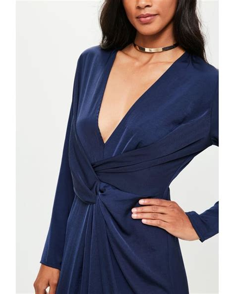 Lyst Missguided Navy Wrap Front Shirt Maxi Dress In Blue Save 19