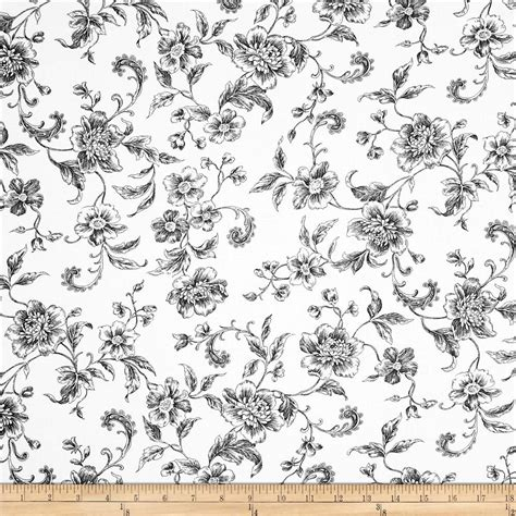 printable fabric 108 quot wide whisper print floral toile black discount