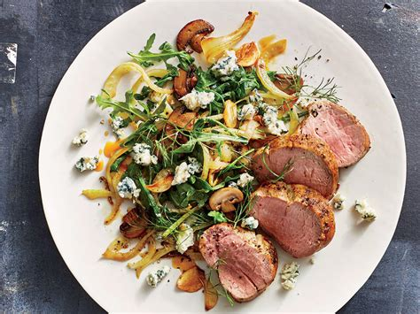 Pork Tenderloin With Mushrooms Fennel And Blue Cheese