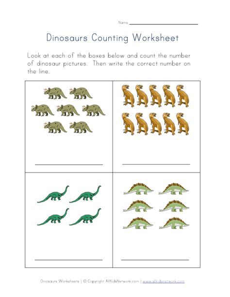 Counting Practice Worksheet by Dinosaur Counting Coloring Pages