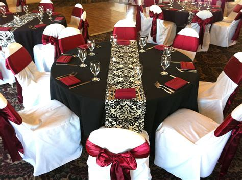 wedding themes in black and dark red   Black table cloths