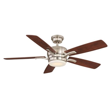 ge adley 54 in led indoor brushed nickel ceiling fan with