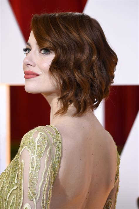 emma stone wavy hair emma stone short wavy cut hair lookbook stylebistro