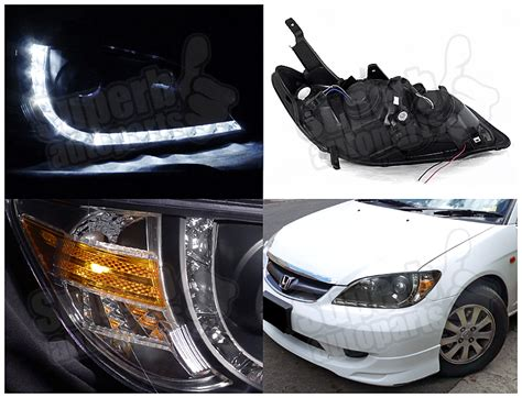 Headl Civic White Projector 2004 2005 1 for 2004 2005 honda civic r8 style led drl projector lights black ebay