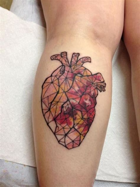 geometric heart tattoo 71 mind blowing tattoos on leg