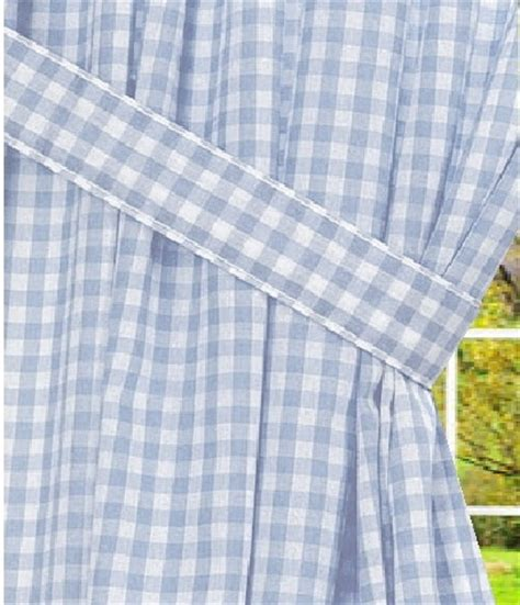 blue gingham curtains light blue gingham check window long curtain available