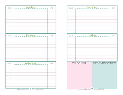 free printable school homework planner 6 best images of student homework planners cute planners