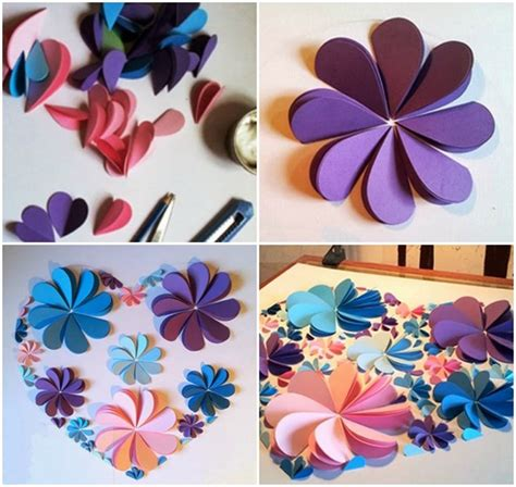 How To Make Colored Paper Flowers - how to make 3d flower paper artwork easy craft idea for
