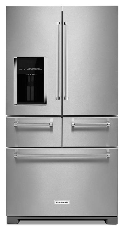 stainless steel door refrigerator kitchenaid stainless steel door refrigerator 25 8 cu ft krmf606ess s