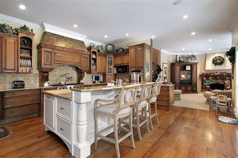 custom kitchen island design natural wood kitchen with white island