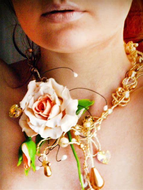 Handmade Flower Necklace - flower necklace artificial handmade flower jewelry