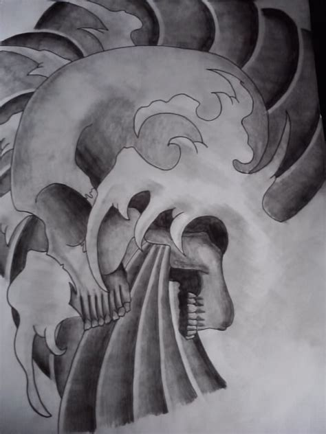 japanese skull design complete by adamcareless on deviantart