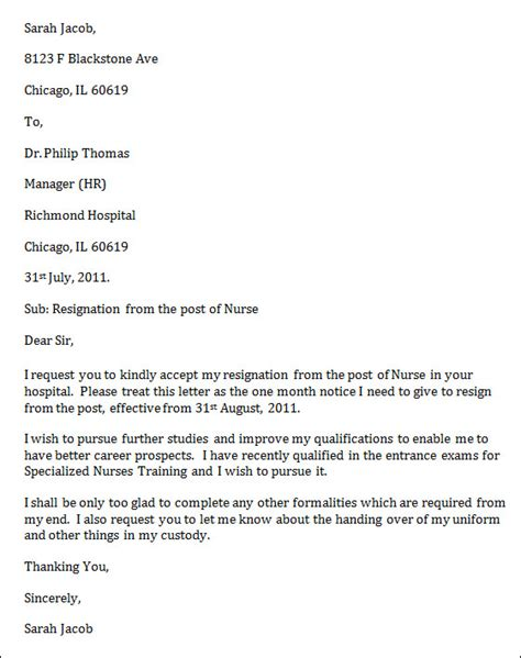 Resignation Letter For Nurses With Personal Reason Sle Resignation Letter