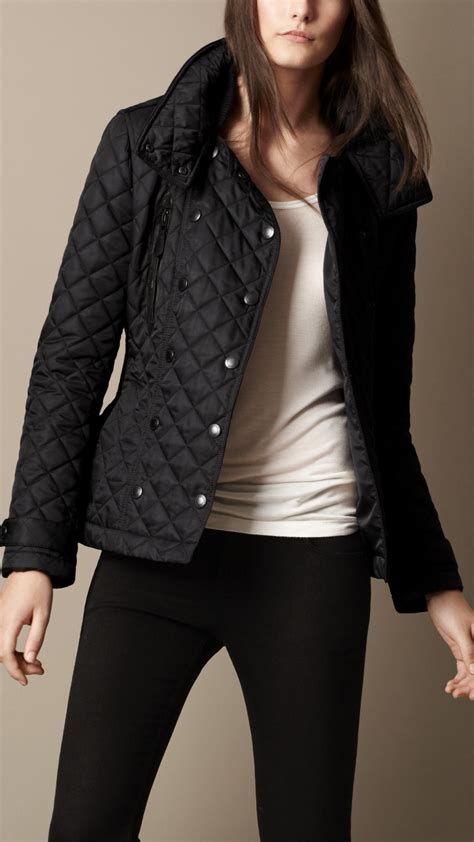 Quilted Jacket Burberry by Burberry Brit Funnel Collar Quilted Jacket In Black Lyst