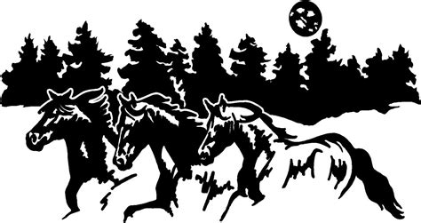 Kitchen Wall Art Stickers running horses border horse trailer truck rv camper decal