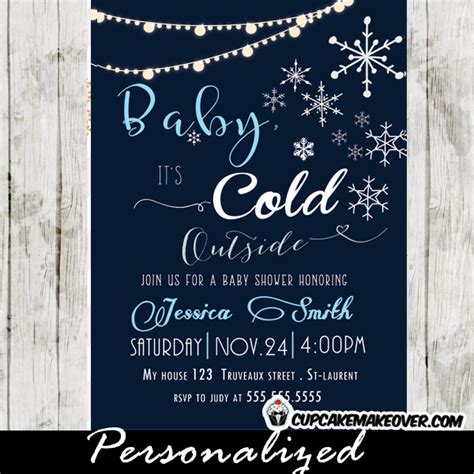 Snowflake Baby Shower Invitations Blue Boys Backyard String Lights Cupcakemakeover Winter Baby Shower Templates