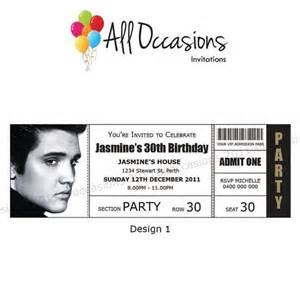 personalised custom elvis birthday ticket invitations invites