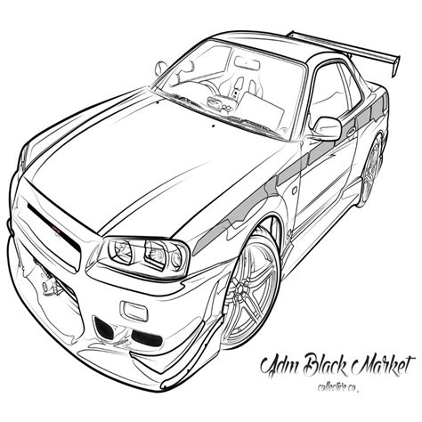 paul walkers nissan skyline drawing paul walker free colouring pages