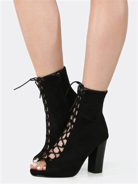 Lace Up Chunky Heel Shoes black lace up chunky heel booties mad heel