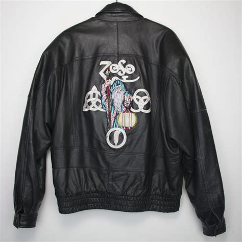 led zeppelin zoso leather jacket 1980s wyco vintage