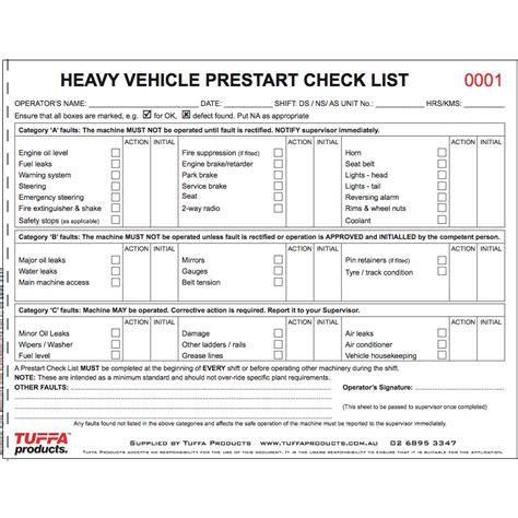 heavy vehicle prestart books tuffa products