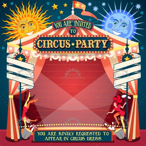 circus 02 invitation vintage 2d image illustration
