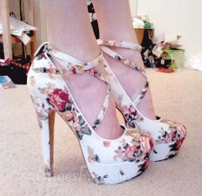 high heels with flowers gorgeous white pu flower print ankle high heel shoes