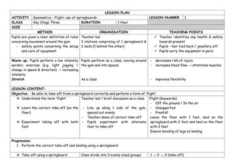 gymnastics lesson plan template detailed gymnastics flight unit of work yr 7 lesson