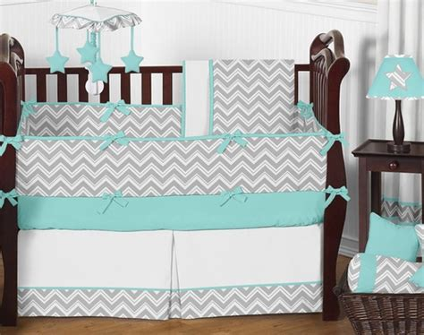 Grey And Turquoise Crib Bedding Turquoise And Gray Chevron Zig Zag Baby Bedding 9 Pc Crib Set By Sweet Jojo Designs Only 189 99