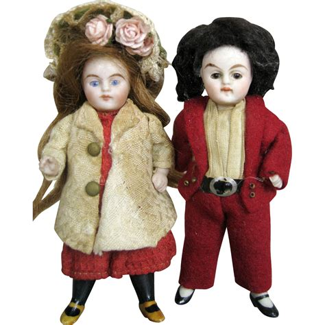 dolls house clothing sweet all bisque pair of german doll house dolls original clothing from