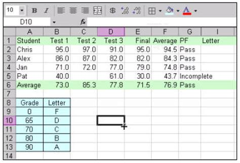 format fail microsoft excel 2007 grading using if function in excel 2007 using if