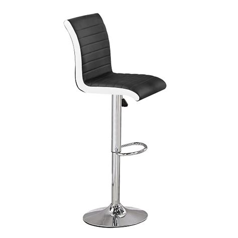 Black And White Bar Stool Ritz Bar Stool In Black And White Faux Leather With Chrome