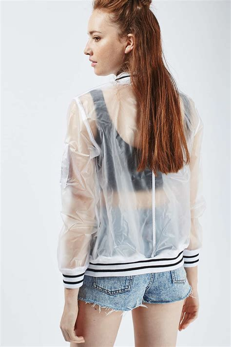 see through see through plastic bomber jacket topshop