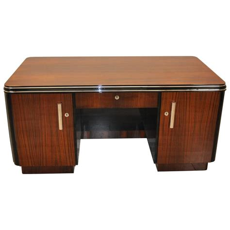 two sided art deco desk made of palisander wood for sale