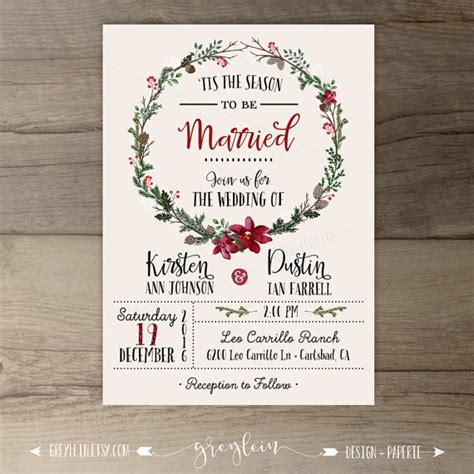 Winterhochzeit Einladung by Winter Wedding Invitations Wreath Tis The Season To