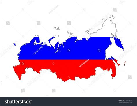 russia country flag map shape national symbol stock photo 270206285