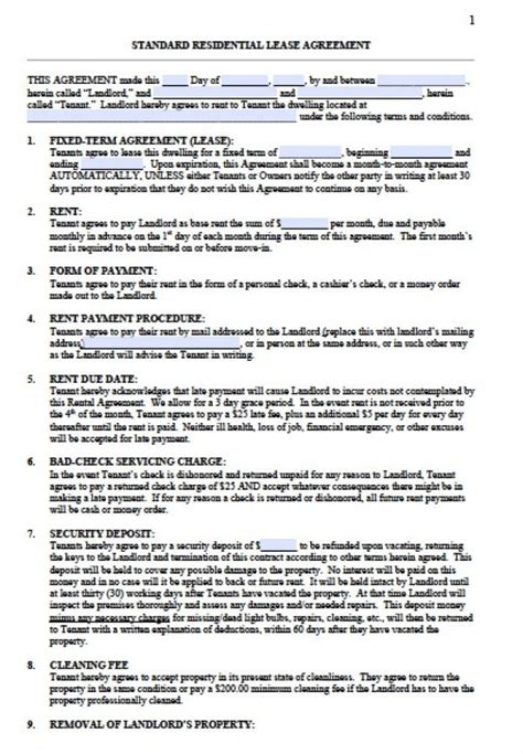 Free Standard Residential Lease Agreement Templates Pdf Word Standard Residential Lease Agreement Template