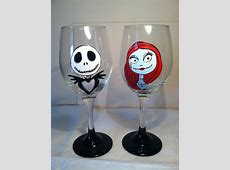Nightmare Before Christmas Inspired Wine Glass by ... Hand Painted Wine Glasses Diy