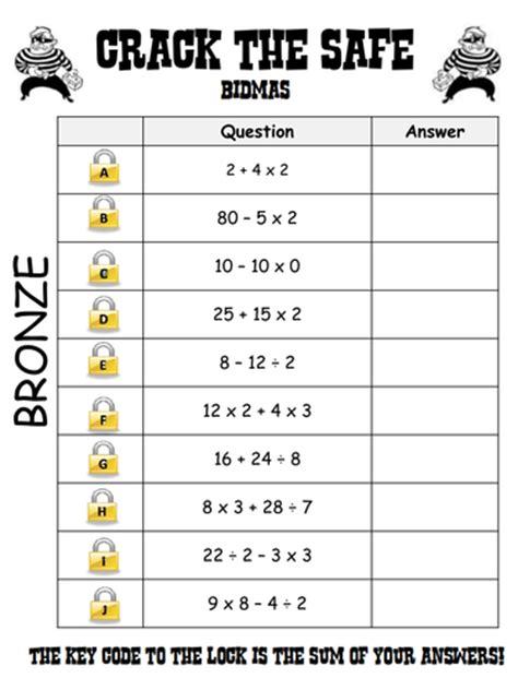 bodmas worksheets year 7 bidmas the safe level 4 5 grade f e by