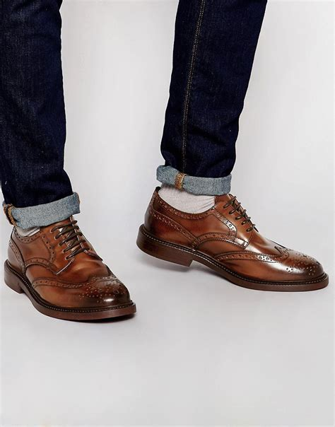 asos asos brogue shoes in brown leather with chunky sole