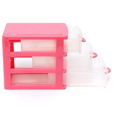 Mini3 Layer mini 3 layer plastic storage drawer make up organizer