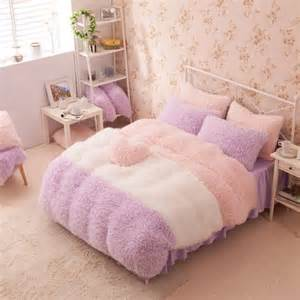 Girls Queen Size Comforter Purple White Pink Girls Cashmere Wool Velvet Ruffle Queen