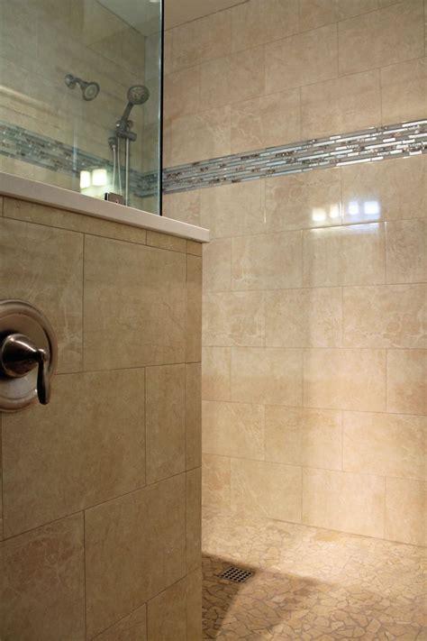 bathroom mosaics ideas large tile shower design travertine look wall tile blue