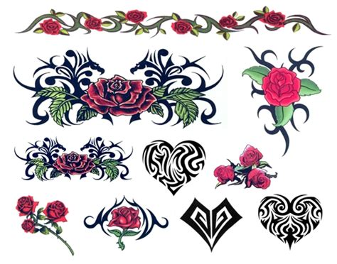 day of the dead tattoos with roses day of the dead tribal hearts roses temporary tattoos