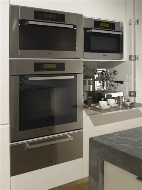 miele ovens and espresso cabinet modern kitchen san