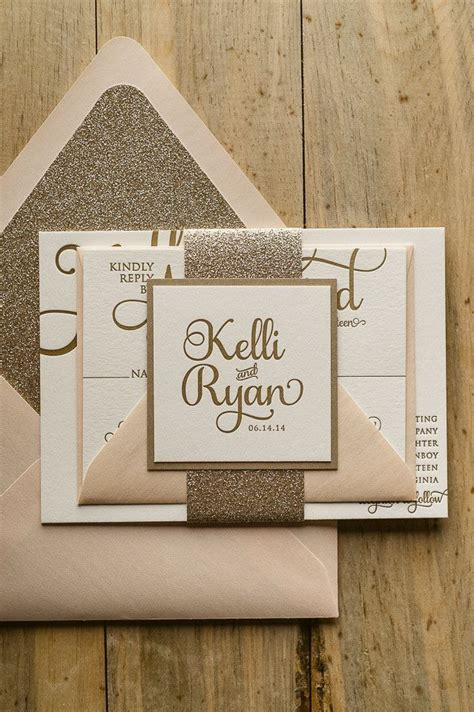 wedding invitation suite packages adele suite glitter package blush and gold letterpress